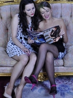 Playful girls put off a fashion mag for a heated strapon session in tights