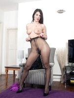 Sexy Holly in micro mini and sheer to waist neutral pantyhose!