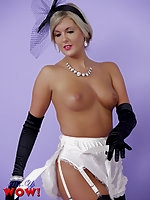 Striking blonde Pin-Up Victoria performs an elegant cocktail dress striptease!
