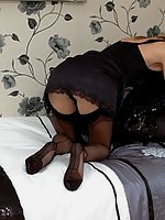 stocking milf flashes in bedroom