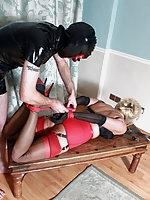 Dannii Harwood has been a really naughty little slut and this sissy has taken advantage of her and tied her up.