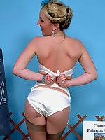 Saucy blonde enjoys a naughty day at the races.