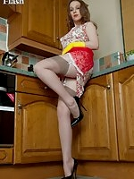 Stocking clad hottie, Aston in the kitchen!