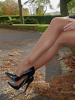 Kerry's sexy long legs in stockings and  high heels