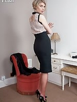 Leggy Bianca offering some RHT fun and games in feminine blouse and pencil skirt!