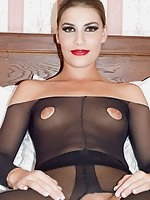 FuSimona loves the erotic feeling of all that sheer black nylon over her body