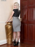 Evey in skin tight pencil skirt stripping down to her sheer green panties