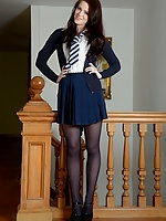 Jessica-Ann in uniform and pantyhose