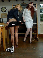 Sophia Smith, Miss Franka in uniform, heels, tights & lingerie