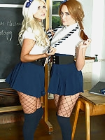 Courtney Tugwell, Lucy-Anne Brooks in uniform and pantyhose