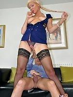 Blonde girl fuck in stockings and uniform