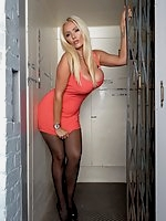 Lucy Zara is stuck in the lift with no panties on