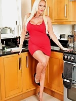 Hot blonde Lucy Zara is wearing a brand new sexy little red dress and guess what