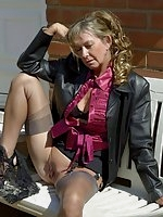 Sexy milf flashes outdoors