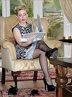 Girdle girl in nylons tease