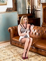 Holly in Fully fashioned nylons and open bottom corselette